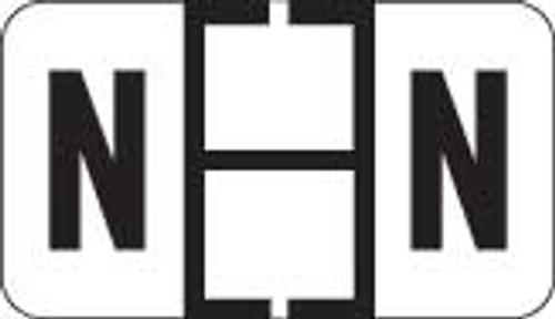 Traco Alphabetic Labels - TRAM Series (Rolls) - N - Black & Black