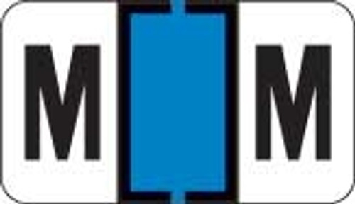 Traco Alphabetic Labels - TRAM Series (Rolls) - M - Lt. Blue & Black