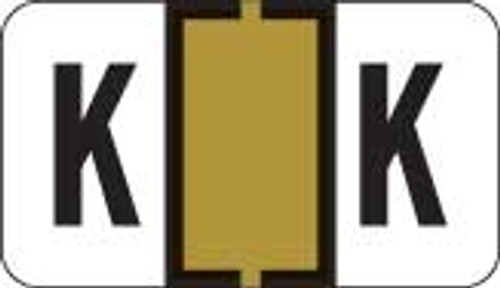Traco Alphabetic Labels - TRAM Series (Rolls) - K - Gold & Black