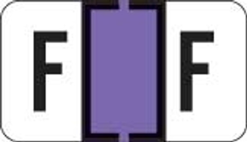 Traco Alphabetic Labels - TRAM Series (Rolls) - F - Lavender & Black