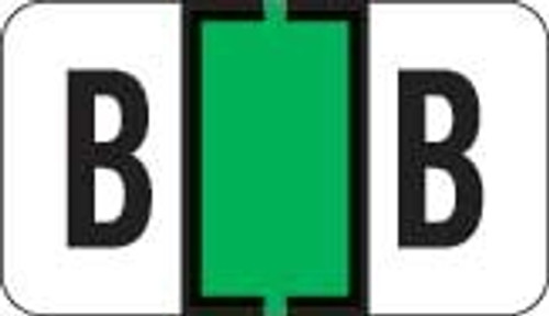 Traco Alphabetic Labels - TRAM Series (Rolls) - B - Green & Black