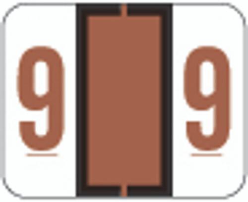 TAB Numeric Label  - TPNV Series (Rolls) - 9 - Brown
