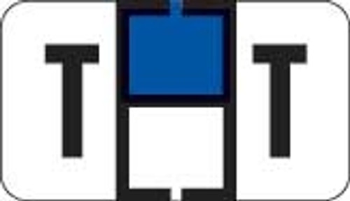 Traco Alphabetic Labels - TRAM Series (Rolls) - T - Dk. Blue & Black