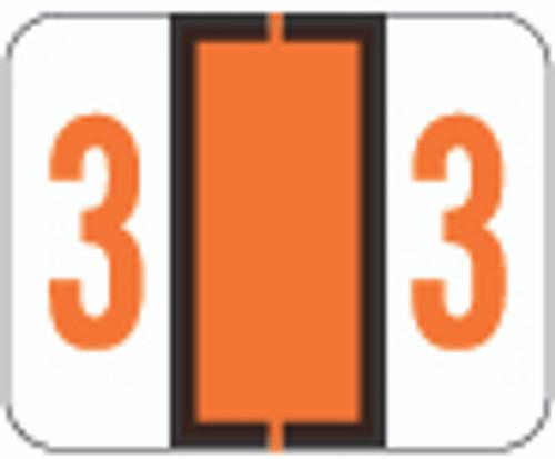 TAB Numeric Label  - TPNV Series (Rolls) - 3 - Dk. Orange