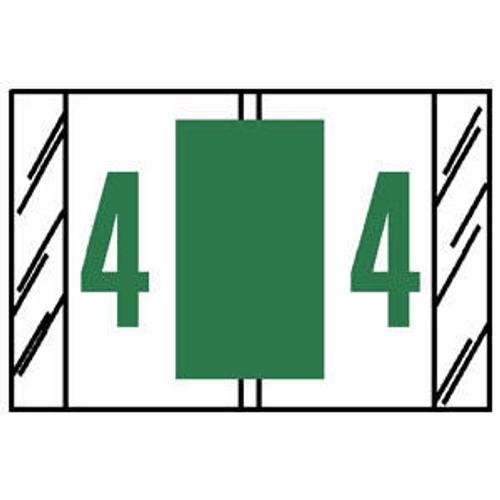 Tabbies Numeric Label - 14000 Series (Rolls) - 4 - Light Green - 500/Roll