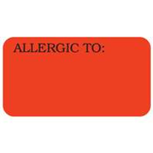 """Allergic To:"" Label - 1-1/2"" x 7/8"" - Fl. Red - 500/Roll"