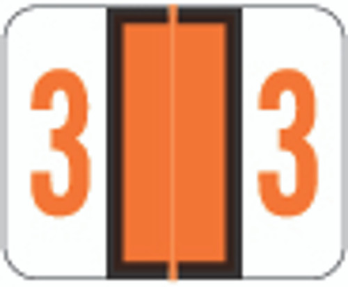 Smead Numeric Label - BCCRN Series (Rolls) - 3 - Orange