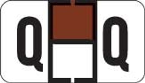 Traco Alphabetic Labels - TRAM Series (Rolls) - Q - Brown & Black