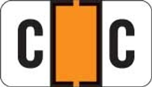 Traco Alphabetic Labels - TRAM Series (Rolls) - C - Orange & Black