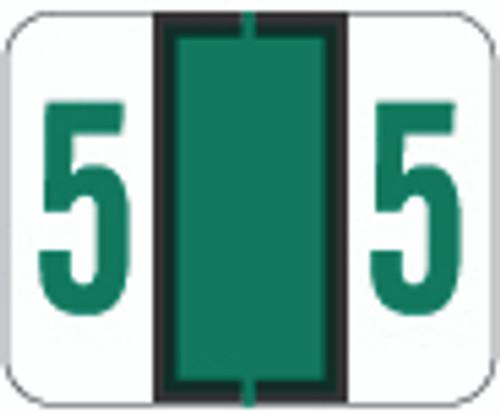 TAB Numeric Label  - TPNV Series (Rolls) - 5 - Dk. Green