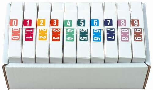 TAB Numeric Label  - TBVN Series (Rolls) - 0-9 Set with tray