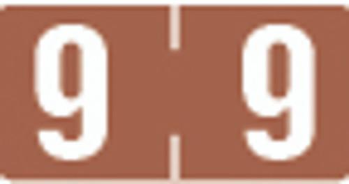 TAB Numeric Label  - TBVN Series (Rolls) - 9 - Brown