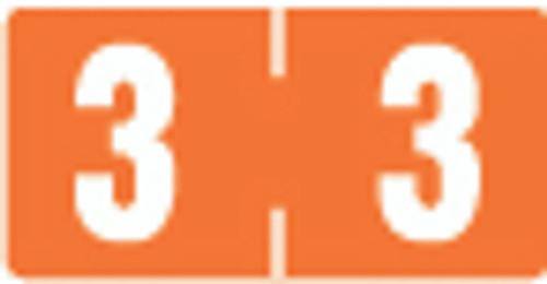 TAB Numeric Label  - TBVN Series (Rolls) - 3 - Dk. Orange