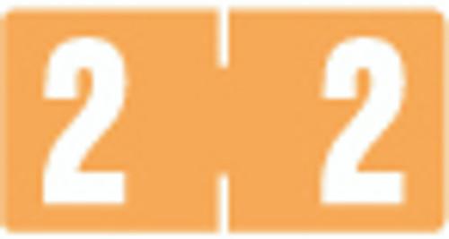 TAB Numeric Label  - TBVN Series (Rolls) - 2 - Lt. Orange