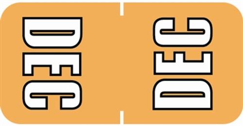 Sycom Top Tab Month Labels - SYTT Series - (252/Pack) - December - Lt. Orange