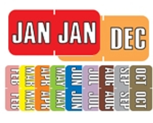 Sycom End Tab Month Labels - SYET Series - (252/Pack) - Complete Set - January-December
