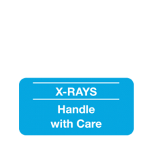 """X-Rays """"Handle With Care"""" Label - Lt. Blue with White Print - 1""""H X 2""""W - 252/Pack"""