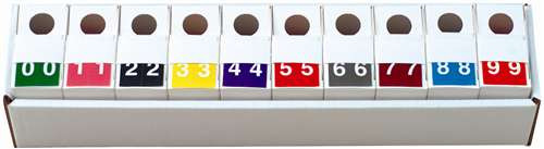 S and W Numeric Label - KKL Series (Rolls) - 0-9 Set with tray