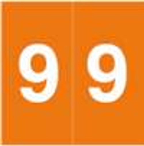 S and W Numeric Label - KKL Series (Rolls) - 9 - Orange