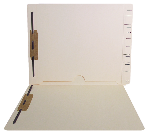 Pocket Folder - Full Pocket Open Bottom - Fasteners in Positions 1 & 3- End Tab - Semco Compatible  - 11 Pt. Manila - Letter Size - 50/Box