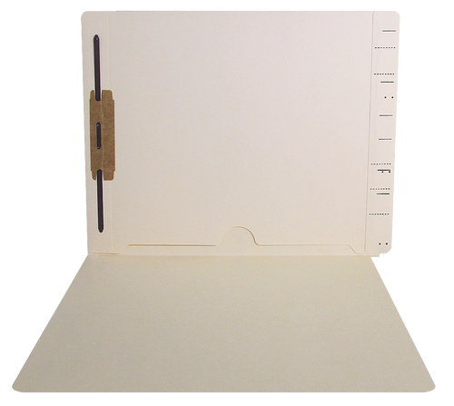 End Tab Folder with Full Pocket and Fastener in Position 1 - Semco Compatible  - 11 Pt. Manila - Letter Size - 50/Box