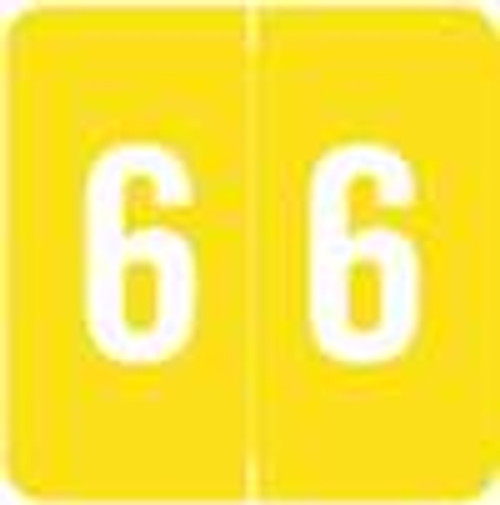 Sav-Tyme/SFI Numeric Label - STNM Series (Rolls) - 6 - Yellow