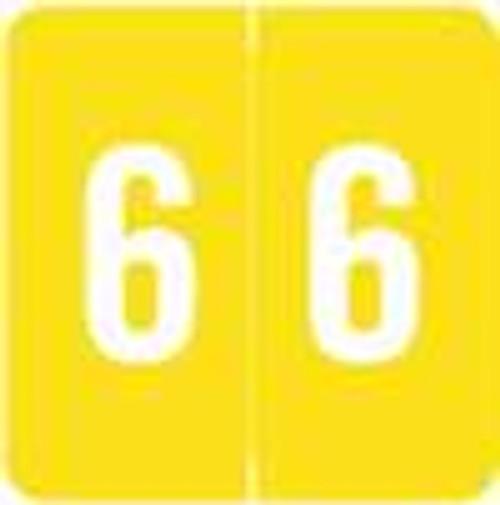 Sav-Tyme/SFI Numeric Label - STNM Series (Rolls) - 6 - Yellow