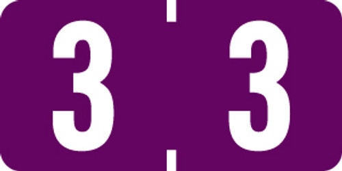 "Smead ETSN Series Numeric Labels - Number '3' - Purple - 1/2"" H x 1"" W - 250/Pack (Sheets)"