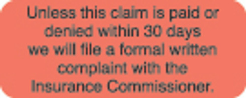 """""""Unless This Claim"""" Label 1 -  Fl. Red - 1 7/8"""" x 3/4"""" - Box of 500"""