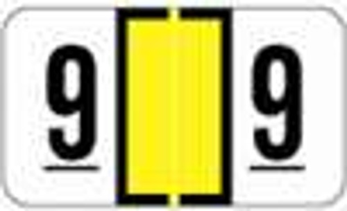 Safeguard Numeric Label - SGNM Series (Rolls) - 9 - Yellow