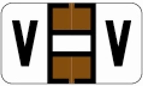 SafeGuard Alphabetic Labels - 511 Series (Sheets for binder) V- Brown