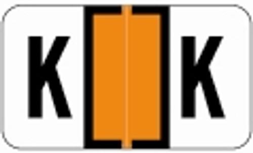 SafeGuard Alphabetic Labels - 511 Series (Sheets for binder) K- Dk. Orange