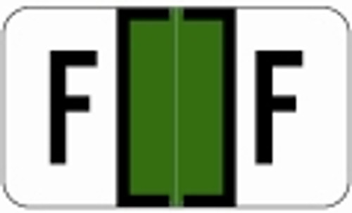 SafeGuard Alphabetic Labels - 511 Series (Sheets for binder) F- Dk. Green