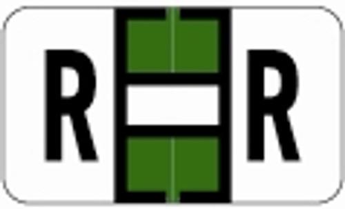 SafeGuard Alphabetic Labels - 511 Series (Sheets for binder) R- Dk. Green
