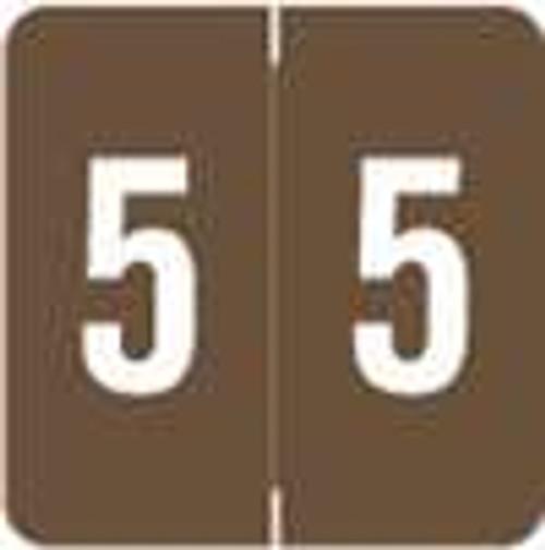 Smead/Barkley Numeric Label - FNSDM Series (Rolls) - 5 - Brown