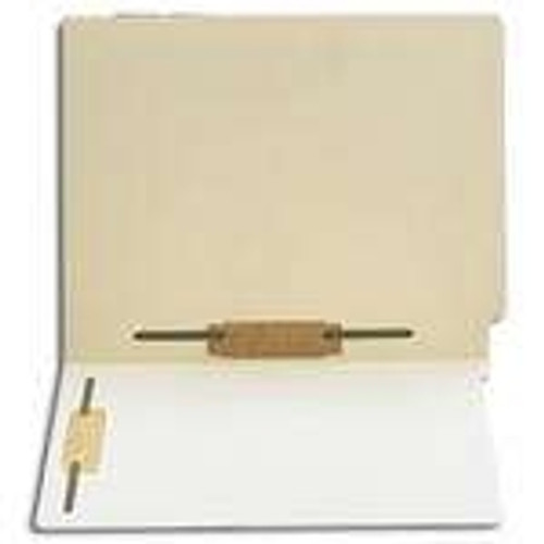 Thompson Compatible End Tab File Folder w/ Fasteners in Positions 3 & 5 - Manila - Letter Size - 14 pt - Single Ply Full End Tab - 50/Box