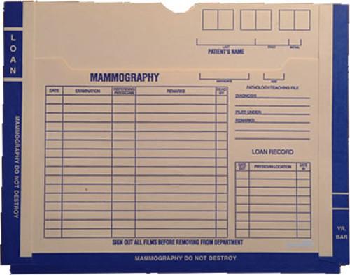 Printed Mammogram Film Jacket.  Blue Border - Size 11 X 14.  200 Jackets per Carton