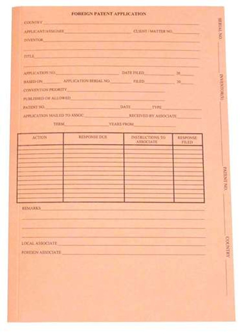Gussco Foreign Patent Application Folder, Top Tab, Salmon, 10 x 15 1/4