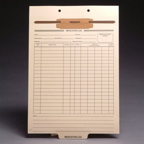 Preprinted Fileback Divider Sheets - Medication Log - 100/Box