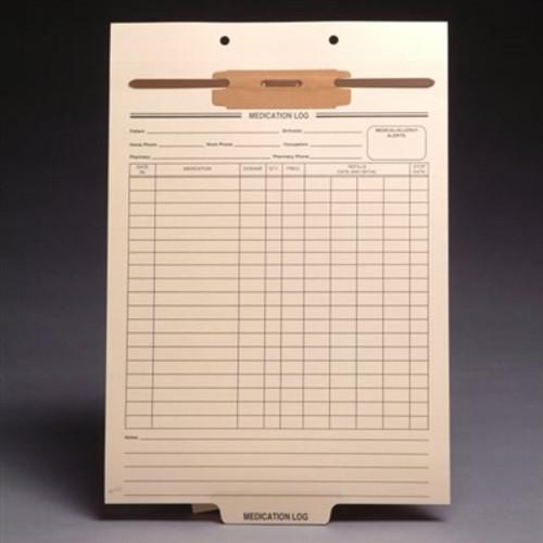 Preprinted Fileback Divider Sheets - Medication Log - 100/Box