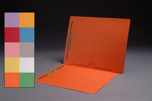 Colored End Tab Full Back Pocket Folders with Fasteners in Positions 1 & 3 - Letter Size - Available in 10 Colors - 50/Box