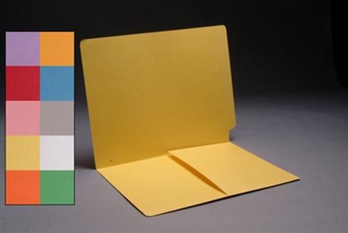 End Tab Colored File Folder w/ Pocket Installed - Letter Size - 14 pt - Green - 50/Box
