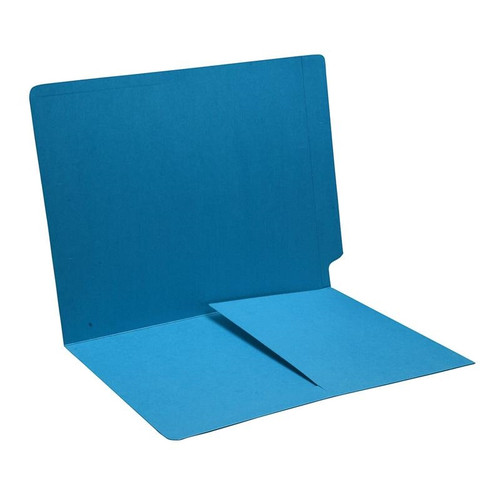 Blue End Tab File Folder with 1/2 Pocket Installed - Letter Size - 14 pt Stock - 50/Box