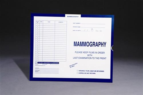 "Mini Category Insert Jackets.  Open End. 10-1/2"" x 12-1/2"" - Mammography - Dark Blue - 250 Per Carton"
