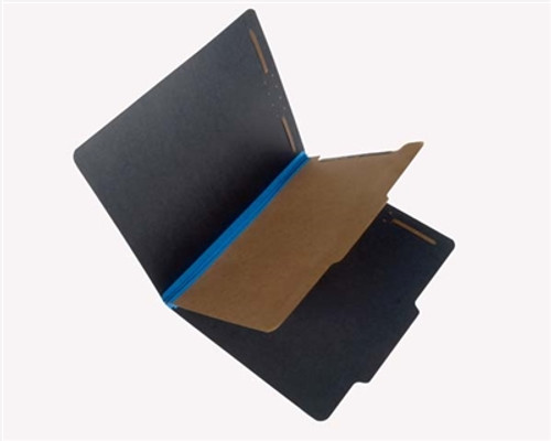 Top Tab Black Classification Folders - 2/5 Cut Right of Center Tab -  Fasteners in Positions 1 & 3-  (1) Divider w/ duo Fasteners - Letter Size - Blue Tyvek Expansion - 20/Box