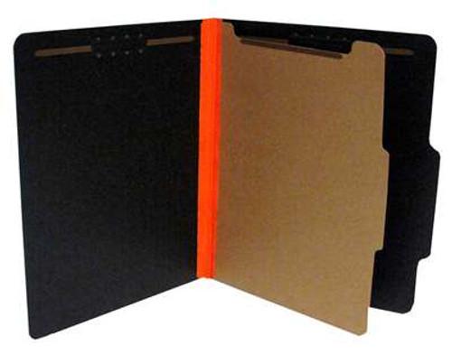 """Top Tab Classification Folder - Letter Size - 1 Divider - 10"""" x 11.75"""" - Black w/ Orange 1.5"""" Tyvek Expansion"""