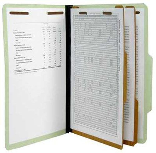 """Top Tab Classification Folder 25 Pt. Pressboard - 2 ¼"""" Tyvek Expansion in Pale Green - Legal Size - Box of 15"""