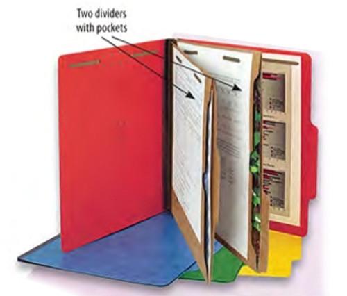 Top Tab Classification Folder - 2 Kraft Dividers with Pockets,  2 ¼Ã¢Â€Â Expansion - Bright Cobalt Blue - Letter Size, Box of 15