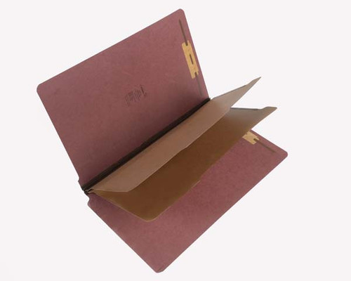 "25 PT Pressboard End Tab Classification Folder - 2 Kraft Dividers -  2-1/4"" Expansion - Letter Size - Red - 15/Box"