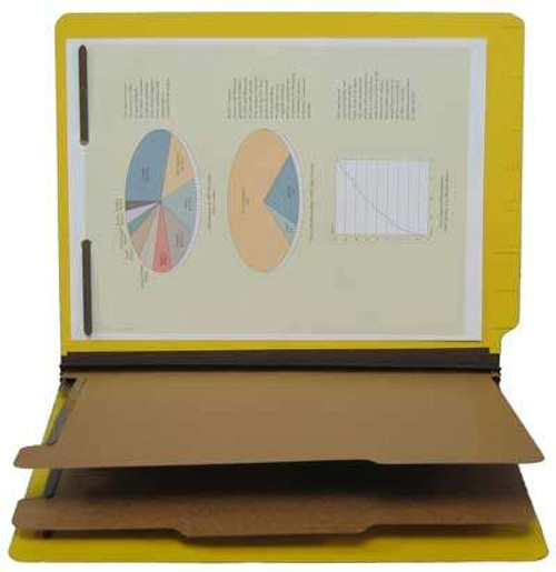 "25 PT Pressboard End Tab Classification Folder - 2 Kraft Dividers -  2-1/4"" Expansion - Letter Size - Yellow- 15/Box"